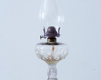 Antique Victorian Bullseye Fine Detail Pattern Oil Kerosene Lamp ca 1880's With Chimney
