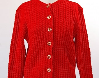 Red Ribbed Cardigan by Ades of California