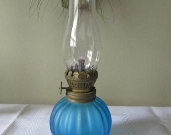 Vintage Blue Oil Lamp. Fairy Lamp, Home Decor, Lighting ,