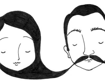 Mustachioed Greeting Cards - pdf download