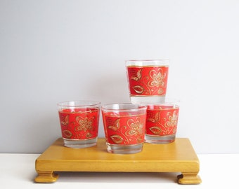 Four Libbey Culver Red rocks glasses - vintage mid century barware - red with embossed gold Jacobean florals