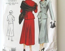 1940s Womens Suit Sewing Pattern Vogue 2476  1949 Fitted Jacket and A Line Midi Skirt Pattern Reissued 2001 Size 12-16 Bust 34-38 UNCUT