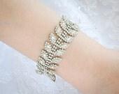 Bridal Bracelet, Crystal Wedding Bracelet, Rhinestone Leaf Vine Wedding Bracelet, Art Deco Bracelet, Vitnage Style Wedding Jewelry, JOCASTA