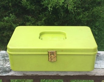 Sewing Box Vintage Thread Box Spool Of Thread Holder Chartreuse Green