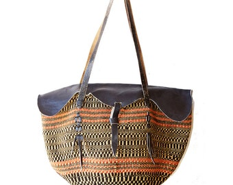 Vintage Leather Bag Woven Textile Native Bucket Bag