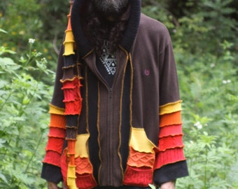 Custom Made to Order Recycled Sweater Coat Hoodie.  Guy .Unisex Elf  Large Hippie Grateful Dead Furthur