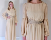 vtg 70s CHAMPAGNE beaded MAXI DRESS cocktail Small/Medium elegant party boho Grecian wide sleeve gown