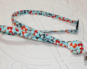 Retractable Badge Reel  Breakaway Lanyard -  Fabric Retractable Reel Lanyard - Fabric Id Badge Holder - Blue Fox Print