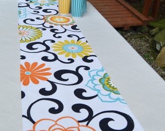 Table Runner . Waverly Pom Pom Play Confetti . Flowers and Swirls Table Runner . Handmade by Seams Original