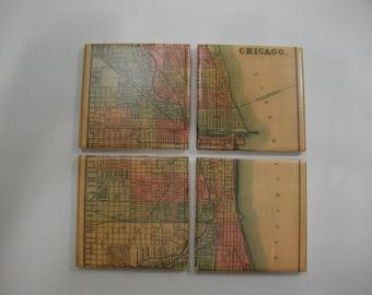 Chicago Coaster Set -  Map Coaster Set - Tile Coasters Set - Antique Chicago IL Map Art