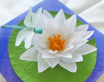 Water Lily, Lily Pad, Dragonfly, Handmade Paper Gift Box, Blue and Purple Lid, White Flower, Green, Purple, Paper Flower, Gift for Her