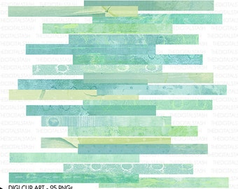 Digital Seafoam Washi Tape - 25 Piece Artsy Clip Art - INSTANT DOWNLOAD - for Cards, Scrapbooking, Collage, Invites, Crafts...