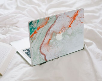 Glitter Agate MacBook Decal - Turquoise, Orange, Mint and Gold Vinyl Laptop Skin