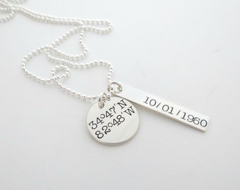Personalized Coordinates Necklace - Personalized Longitude Latitude - GPS Jewelry - Personalized Jewelry - Womens Necklace - Date - Name
