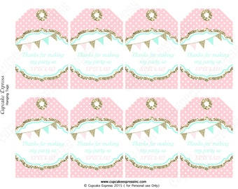 One First Birthday girl  pink  mint gold PRINTABLE Hanging Thank You Tags  chevron polka dot glitter 1st birthday - 1031   Instant Download