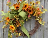 Sunflower Wreath, Wreath for Fall Summer and Everyday, Fall Wreath, Summer Wreath, Everyday Wreath with Sunflowers, Designer Tuscan Style