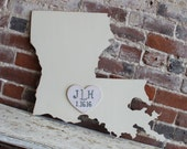 Wooden State Wedding Guestbook - 2 ft Louisianna in Distressed Ivory - any state/country available in many colors