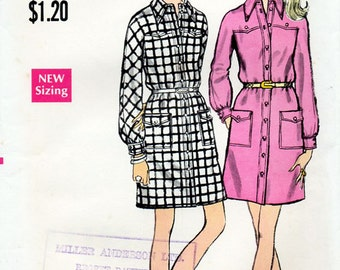 1970s Shirtdress Pattern Vogue 7744 Vintage Sewing Pattern Long Sleeved Mini Shirt Dress Bust 36 FF Unused