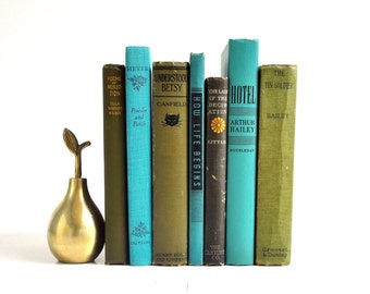 Vintage Green, Teal and Grey Book Collection - Library or Living Room Decor