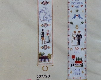Danish   Denmark   DANMARK SAMPLER   BELLPULL   Charted Needlework Design Kit   Counted Cross Stitch Pattern   Chart