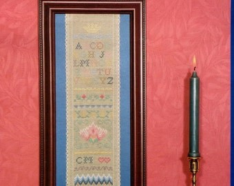 Serendipity Designs Counted Cross Stitch Pattern ANTIQUE SAMPLER BAND By Carolyn Meacham - Includes Linen Fabric As Pictured