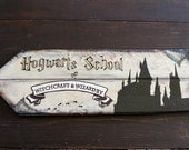 Hogwarts School of Witchcraft & Wizardry Sign, Harry Potter Art, Home Decor, Party Decoration