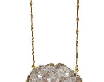 white amethyst cluster necklace