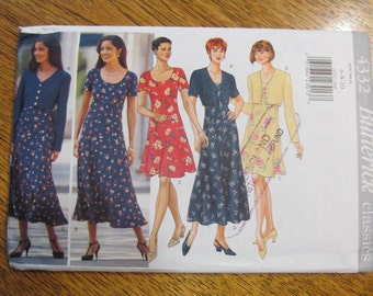 EASY to Sew Fitted Baby Doll Dress - Empire Line Comfy Peasant Gown & Jacket - Size (6 - 8 - 10) - UNCUT Sewing Pattern Butterick 4332