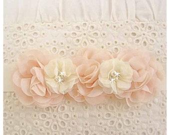 Sale Blush Wedding Sash Bridesmaid Sash Blush and Ivory Chiffon Blossoms Satin Sash Flower Girl Bridesmaids Wedding Sash Bridal Sash