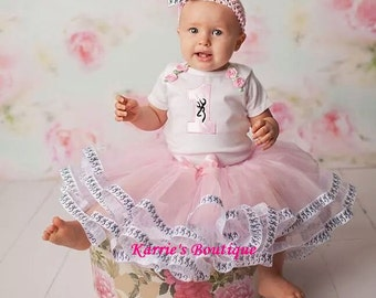 1st or 2nd Birthday Tutu Outfit / Pink & Black / Deer / Cake Smash / Pageant / Photo Prop / Baby / Girl / Toddler / Custom Boutique Clothing