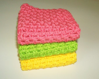 Baby Washcloths - Spa Washcloths - Cotton Dishcloths - Azalea - Set of 3 in Pink, Yellow, and Lime Green