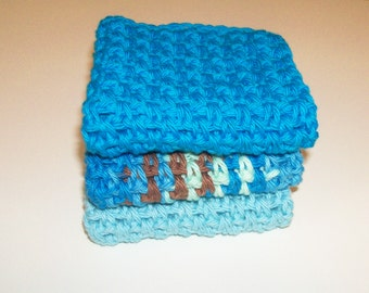 Dishcloths Set - Refreshed - Set of 3 in Turquoise, Light Blue, and Brown