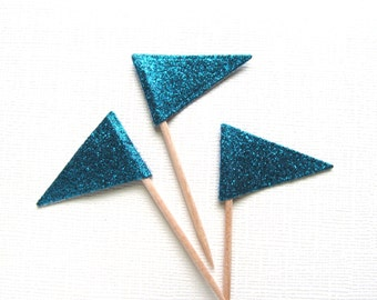Teal Glitter Flag Cupcake Toppers, Party Decor, Double-Sided, Weddings, Showers, Birthdays, Nautical,  Set of 15