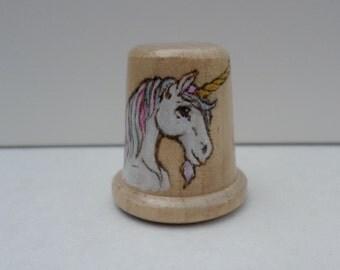 Unicorn thimble wood burned pyrography no49