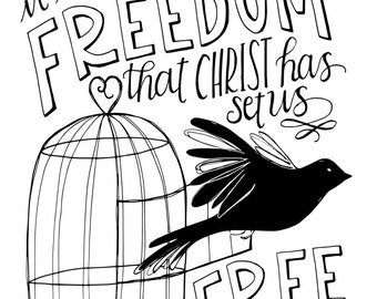 Freedom - Hand Lettered Print by Mandy England
