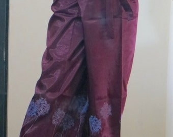 Deep Purple Silk Fisherman Pants with Floral Silk Screen