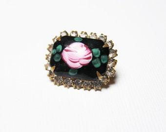 Petite Pink Rose Brooch - Vintage Black Glass Cabochon and Rhinestone Pin