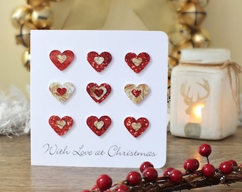 Handmade 3D Christmas Card - Personalised With Love at Christmas Card, Happy Holidays, Xmas Cards, Merry Christmas Red Gold Customised BHX04
