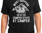 What Happens at Camper Stays at Camper Camping Outdoors Men's & Women's T-shirt Short Sleeve 100% Cotton S-2XL Great Gift (T-CA-09)