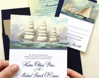 Nautical Wedding Invitation, Boat Wedding, Yacht Wedding Invitations, Maritime Museum Wedding, Maritime Wedding Invitation, Whaling Wedding