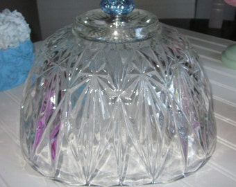 Large Cake Cloche Cover Dome/crystal paneled diamond fan pattern/replacement/Cake Stand/dessert plate/Cloche cake dome cover
