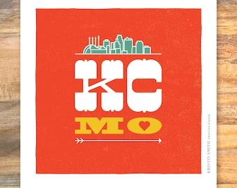 KCMO - Kansas City, Missouri love with skyline