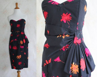 Vintage 80s Strapless Dress, 1980s Tropical Party Dress, Floral Print, Laura Ashley