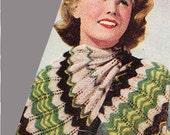 1940s Vintage CHEVRON TWINSET & SCARF Knit Pattern, Feather/Fan Stripe Cardi, Boho/Madmen/Folk/Preppy, Pdf from GrannyTakesATrip 0302