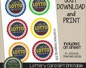 PRINTABLE Lottery gift card, Lotto Gift, Printable PDF, jpeg, 8.5 x 11 printable, Pinterest, Lotto card, lottery, teacher gift, birthday