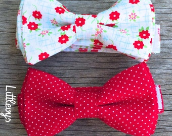 red bowtie, red bow tie, polka dot bow tie, floral bow tie, valentines day baby