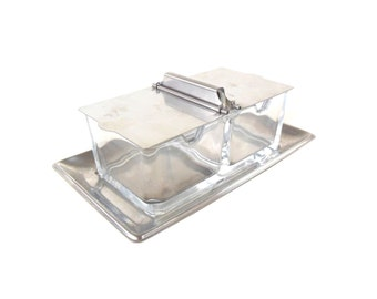 WMF Cromargan Stainless Glass Relish Dish Tray Double Sided Flip Up Lid Mid Century Modern