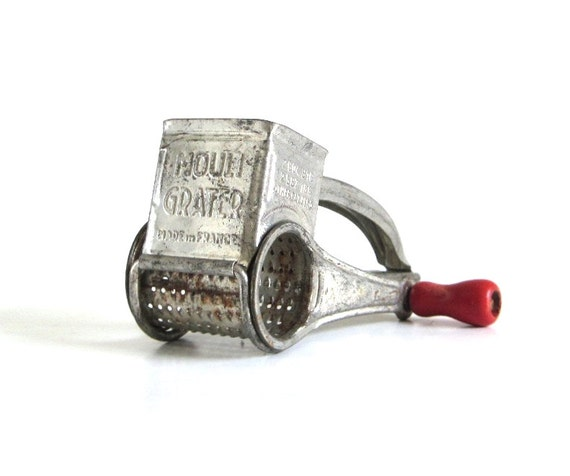 Vintage Crank Cheese Grater : Hand crank cheese grater mouli red wood handle