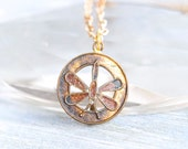 Little Dragonfly Necklace - Antique Medallion Pendant on Chain