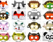 7 felt masks animal woodland forest zoo party favors for kids adults Dress up play Photo props Birthday gift for boy girl - YOU CHOOSE STYLE
